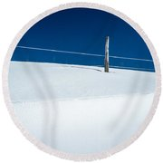Winter Minimalism Round Beach Towel by Edward Fielding
