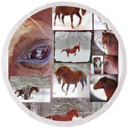 Winter Moments- With The Flashy Paso Fino Stallion Round Beach Towel