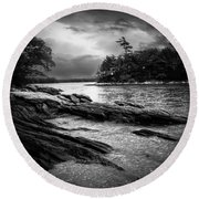 Winter Moonlight Wolfes Neck Woods Maine Round Beach Towel by Bob Orsillo