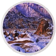 Winter Morning Alabama Hills And Eastern Sierras Round Beach Towel
