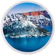 Winter Morning At Crater Lake Round Beach Towel