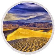 Winter Morning At Death Valley Round Beach Towel