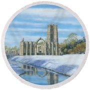 Winter Morning Fountains Abbey Yorkshire Round Beach Towel by Richard Harpum