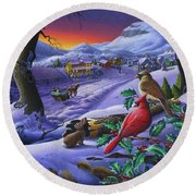 Winter Mountain Landscape - Cardinals On Holly Bush - Small Town - Sleigh Ride - Square Format Round Beach Towel