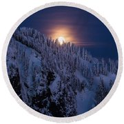 Winter Mountain Moonrise Round Beach Towel