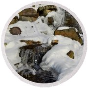 Winter Mountain Stream Round Beach Towel