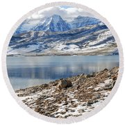 Winter Mt. Timpanogos And Deer Creek Reservoir Round Beach Towel