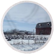 Winter Museum Round Beach Towel