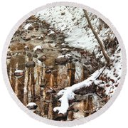 Winter - Natures Harmony Round Beach Towel by Mike Savad