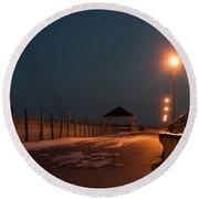 Winter Night Boardwalk Bench Seaside Nj  Round Beach Towel
