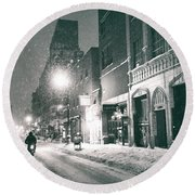 Winter Night - New York City - Lower East Side Round Beach Towel