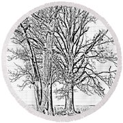 Winter Oaks IIi Round Beach Towel