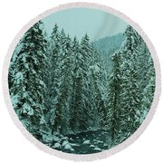 Winter On The American River Round Beach Towel
