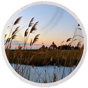 Winter On The Delaware  Round Beach Towel