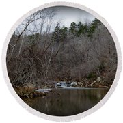 Winter On The Eno River At Fews Ford Round Beach Towel