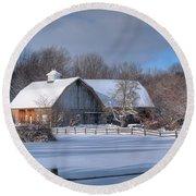 Winter On The Farm 14586 Round Beach Towel