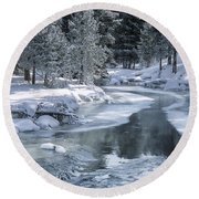 Winter On The Firehole River - Yellowstone National Park Round Beach Towel by Sandra Bronstein