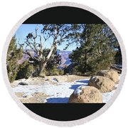 Winter On The South Rim Round Beach Towel