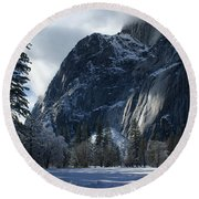 Winter On The Valley Floor Round Beach Towel