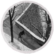 Winter On The Walls Of Bergamo Round Beach Towel