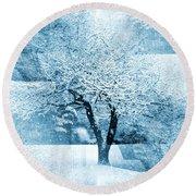 Winter Orchard Round Beach Towel