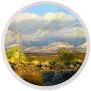 Winter In The Organ Mountains Round Beach Towel
