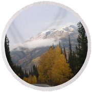 Winter Over Red Mountain Round Beach Towel
