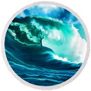 Winter Pacific Surf Round Beach Towel