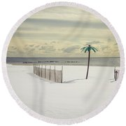 Winter Paradise Round Beach Towel