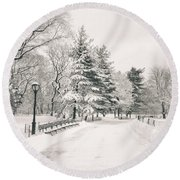 Winter Path - Snow Covered Trees In Central Park Round Beach Towel by Vivienne Gucwa