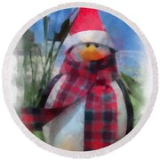 Winter Penguin Photo Art Round Beach Towel
