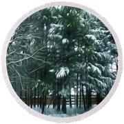 Winter Pine Tree  Round Beach Towel