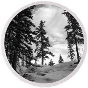 Winter Pines Silhouetted Against The Sky Round Beach Towel