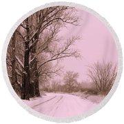 Winter Pink Round Beach Towel