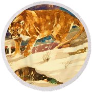 Cougar On The Prowl In Winerer Round Beach Towel