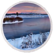 Winter Quiet And Colorful Round Beach Towel