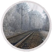 Winter Railroad Round Beach Towel