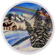 Winter Rainbow Round Beach Towel
