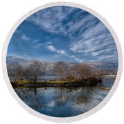 Winter Reflections Round Beach Towel by Adrian Evans