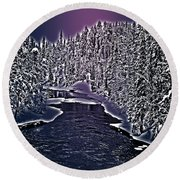 Winter River Oulanka National Park Lapland Finland  Round Beach Towel