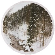 Winter River Round Beach Towel