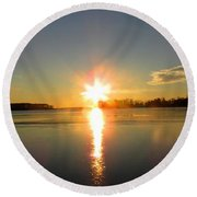 Winter River Sunrise Round Beach Towel