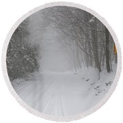 Winter Road During Snow Storm Round Beach Towel