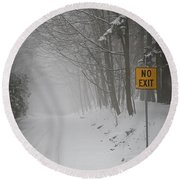 Winter Road During Snowfall I Round Beach Towel