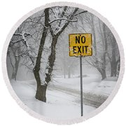 Winter Road During Snowfall IIi Round Beach Towel