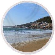 Winter Sand Beach Acadia Round Beach Towel