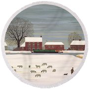 Winter Scene In Lincolnshire Round Beach Towel by Vincent Haddelsey