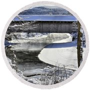 Winter Scene In Montgomery Round Beach Towel