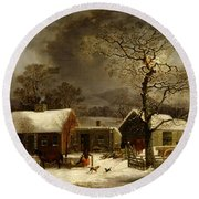 Winter Scene In New Haven Connecticut 1858 By Durrie Round Beach Towel by Movie Poster Prints