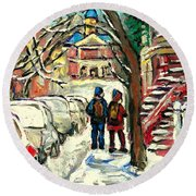 Winter Scene Painting Rows Of Snow Covered Cars First School Day After Christmas Break Montreal Art Round Beach Towel